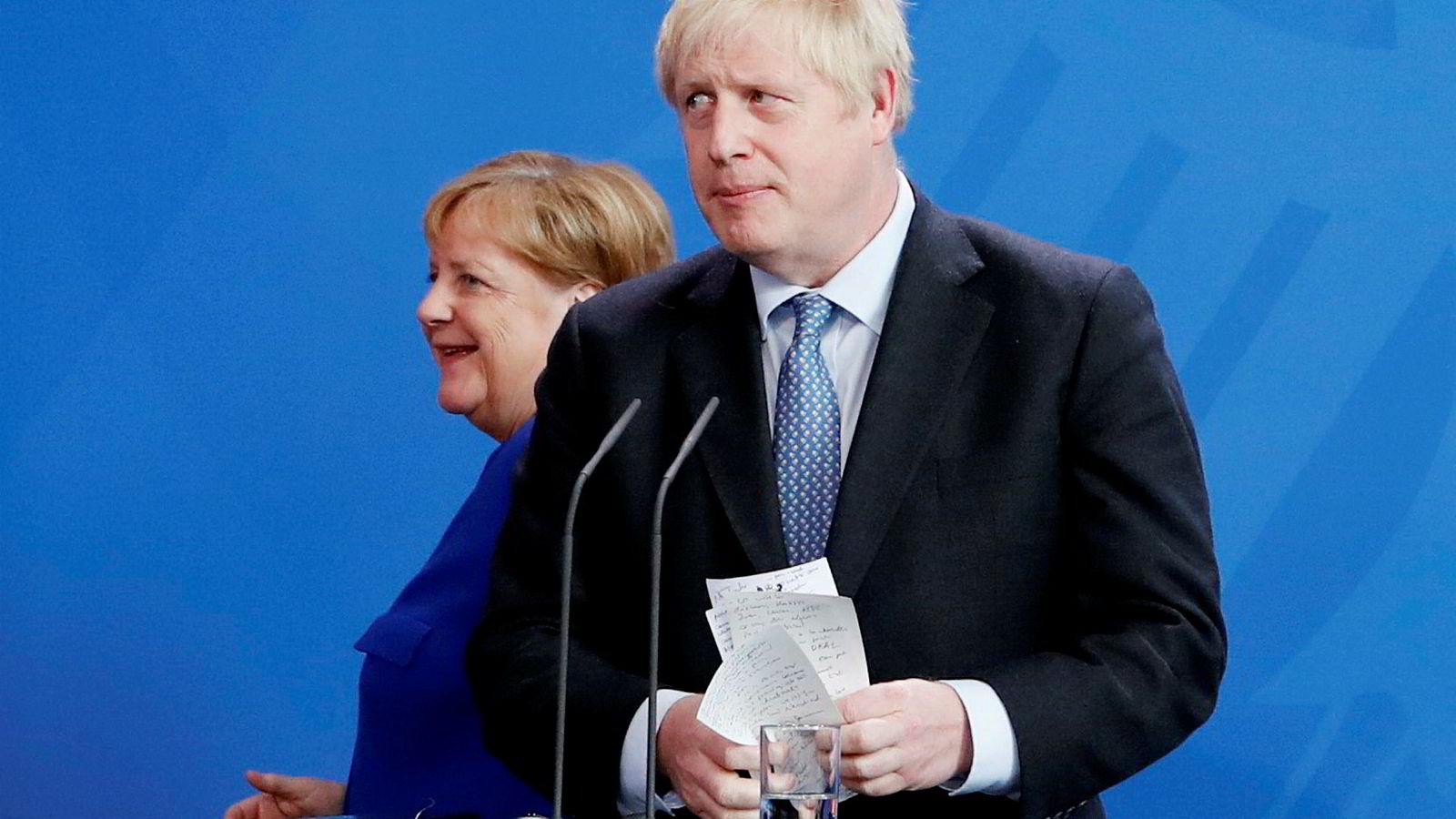 Angela Merkel og Boris Johnson møttes onsdag i Berlin.