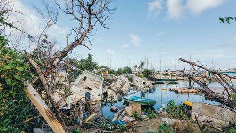 Herjet. Yachtklubben ved Nanny Cay ser fortsatt ut som en slagmark, syv måneder etter at orkanen Irma slo inn over Tortola