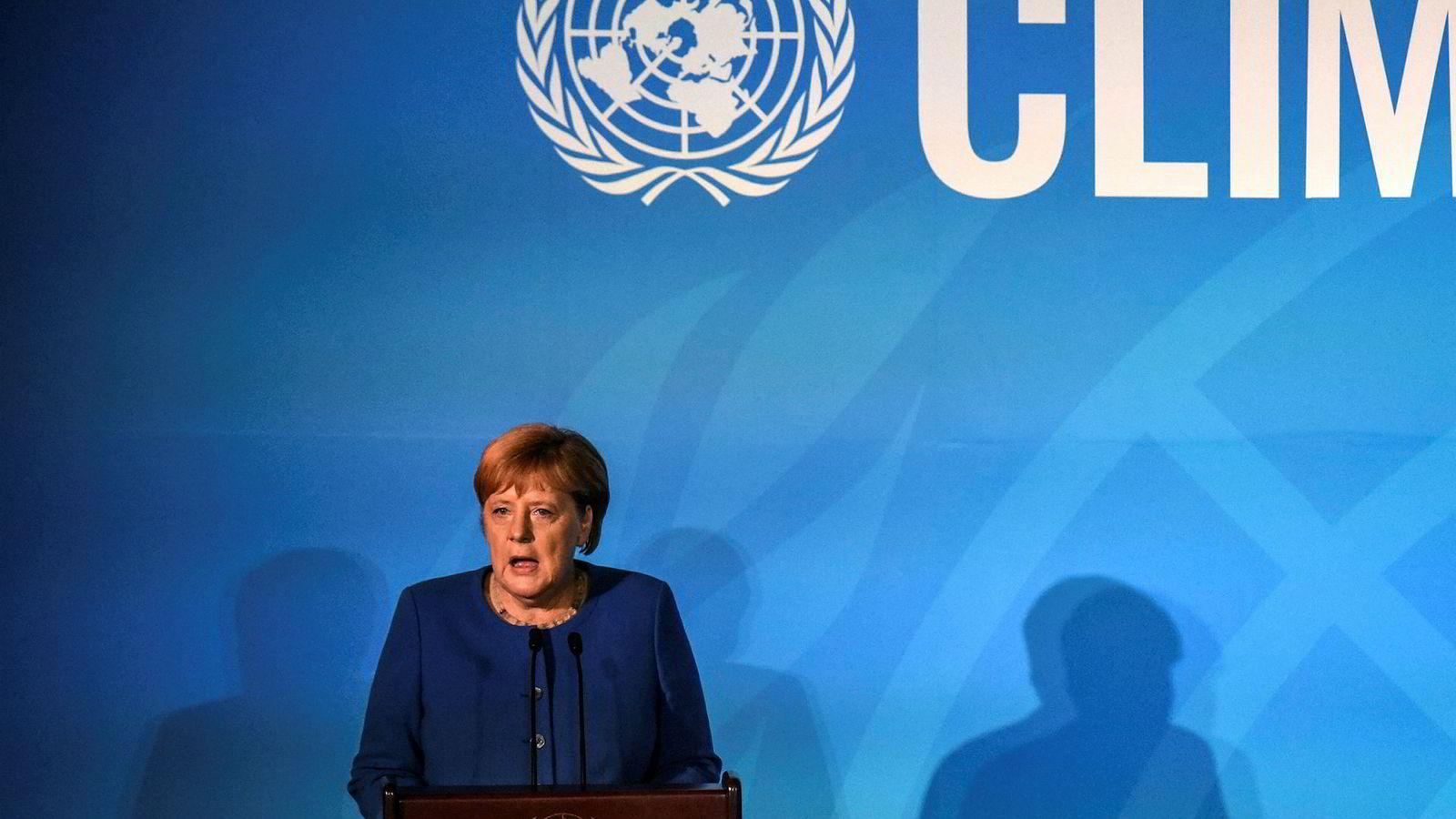 Angela Merkel, den tyske forbundskansleren, talte på FN-toppmøtet om klimas første dag.