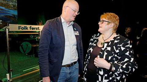 Hans Kristian Voldstad støtter Venstres valgkamp med 600.000 kroner fra egen lomme. Han er Venstres sjettekandidat under Stortingsvalget. Her sammen Venstre-leder Trine Skei Grande. Foto: Trond Solberg/VG/NTB Scanpix