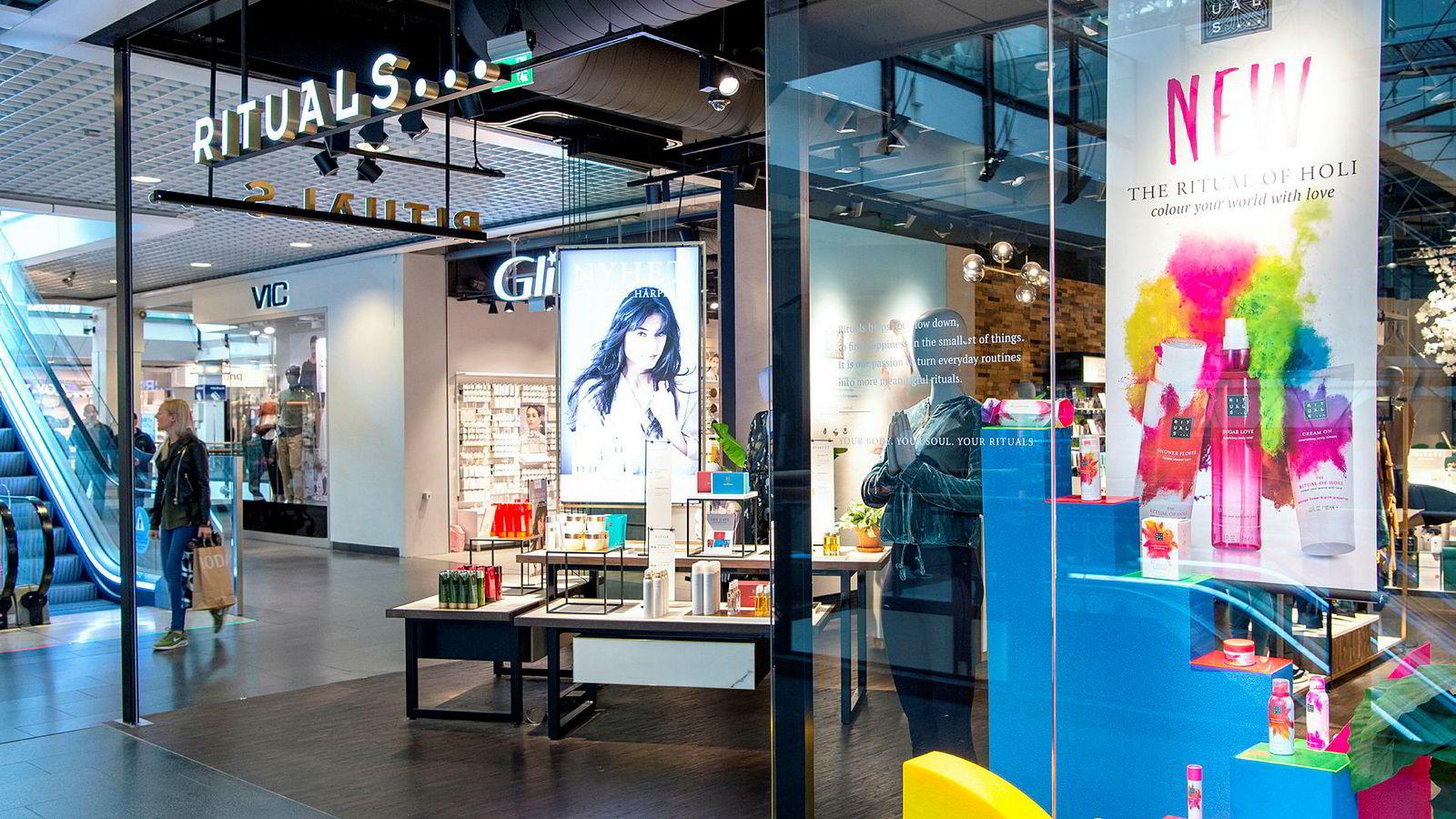 Kosmetikkjeden Rituals haler innpå hvitevarekjeden Skousen på Virkes liste over vekstvinnere i norsk handel. Her fra butikken på Oslo City.