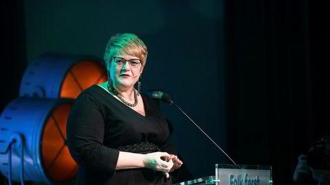 Partileder Trine Skei Grande åpnet fredag Venstres landsmøte på Gardermoen. Foto: Skjalg Bøhmer Vold