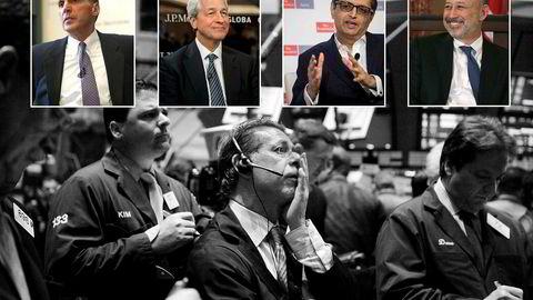 Stemningen var intens og dyster på New York Stock Exchange i september for ti år siden. Wall Street-toppene fra finanskrise-tiden øverst fra venstre: Lehman Brothers-sjef Richard S. Fuld Jr, JP Morgan-sjef Jamie Dimon, Citigroup-sjef Vikram Pandit og Goldman Sachs-sjef Lloyd Blankfein.