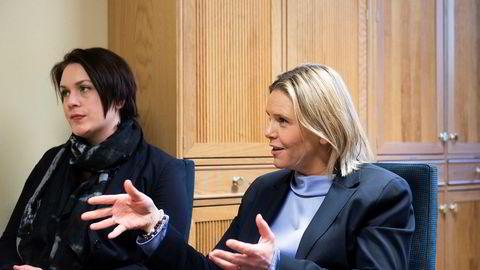 Frps Sylvi Listhaug (til høyre) og Åshild Bruun-Gundersen vil ikke gi sitt ja til en lånesøknad til gigantutbygging av Oslo universitetssykehus uten bedre kunnskap.