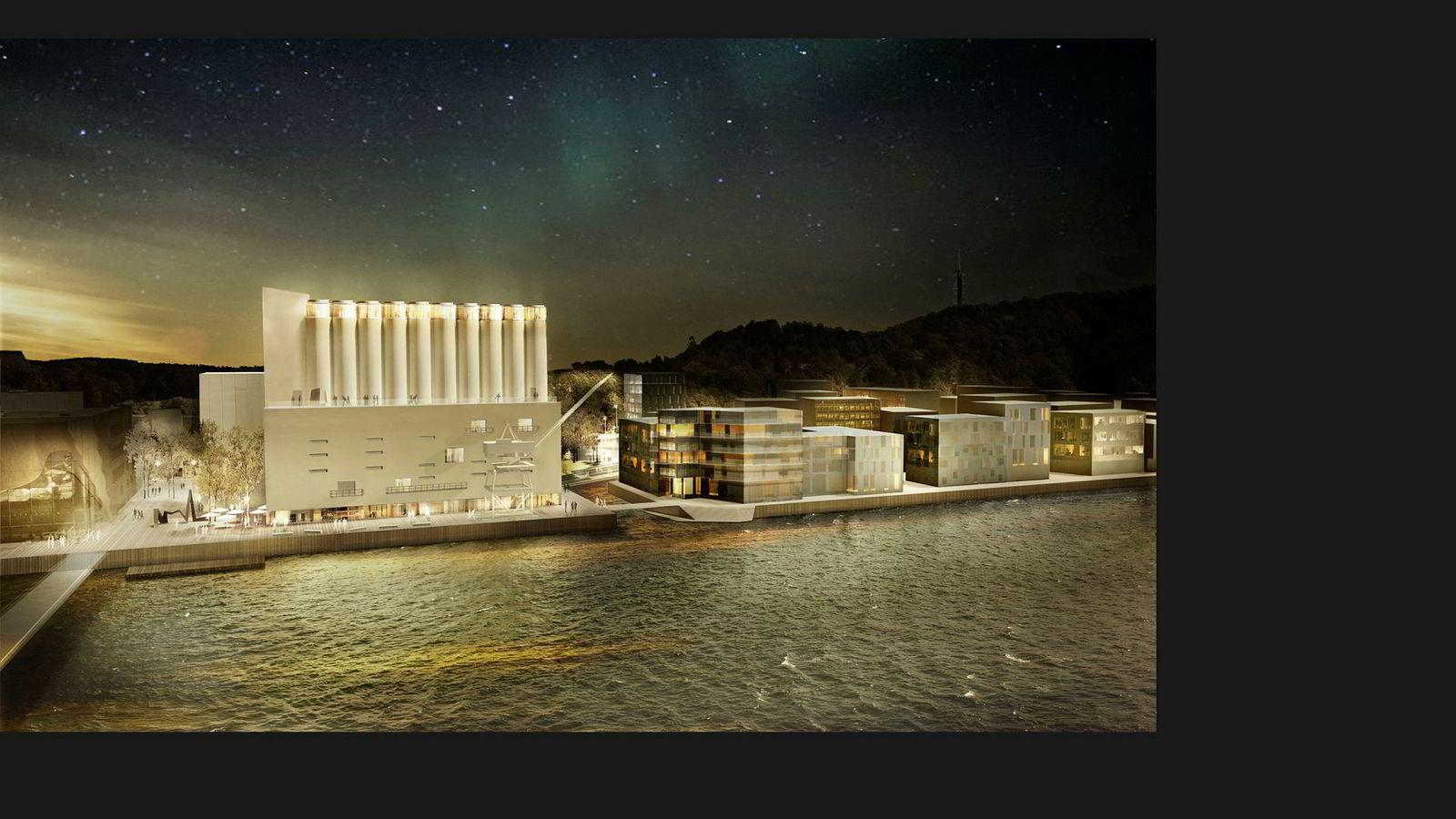 Slik blir den nye Kunstsiloen til 530 millioner kroner i Kristiansand. Siloen skal blant annet inneholde milliardæren Nicolai Tangens store samling nordisk kunst fra 1920 til 1990.
