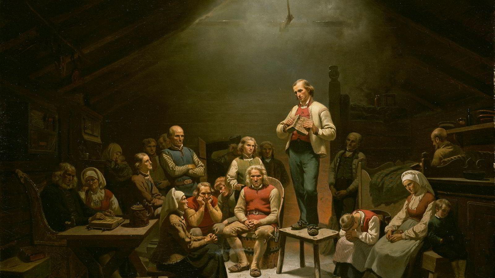 Maleriet «Haugianerne» av Adolph Tidemand «fra 1848 skildrer legmannsbevegelsen. Hverken Hans Nielsen Hauge eller Kjell Ingolf Ropstad var til stede da bildet ble malt.