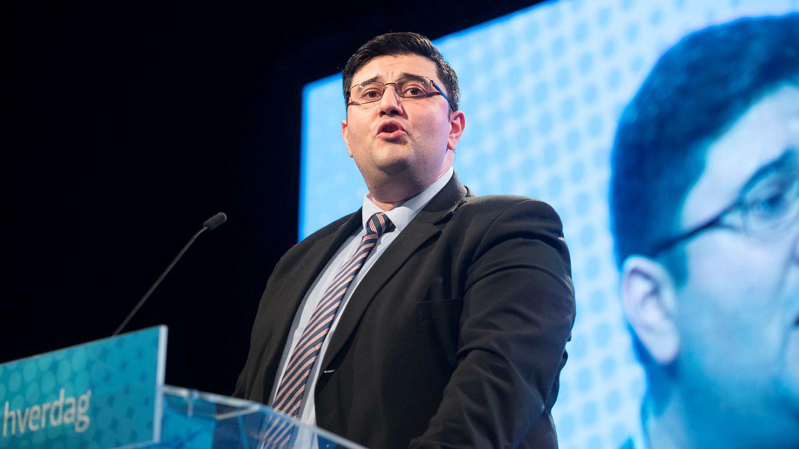 Mazyar Keshvari på FrPs landsmøtet på Gardemoen i september.