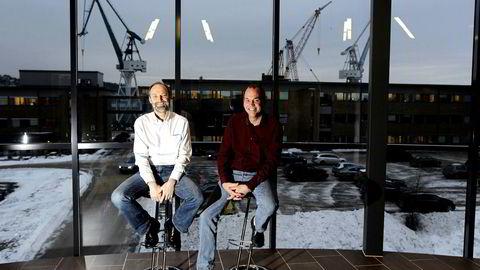 Tom Fedog (til høyre) eier Kristiansand-selskapet Stimline sammen Erik Zachariasen. De tror 2018 blir bedre enn 2017.