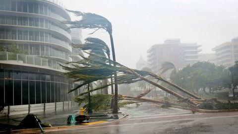 Skadene etter orkanen Irma ser ut til å bli langt mindre enn fryktet. Dette bildet er tatt søndag i Miami Beach, Florida