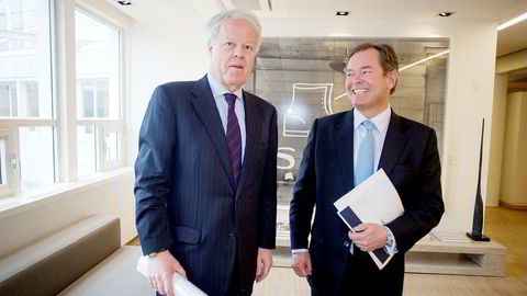 Finansnestor Jan Petter Collier og påtroppende styreleder Knut Brundtland (til høyre) i meglerhuset ABG Sundal Collier.