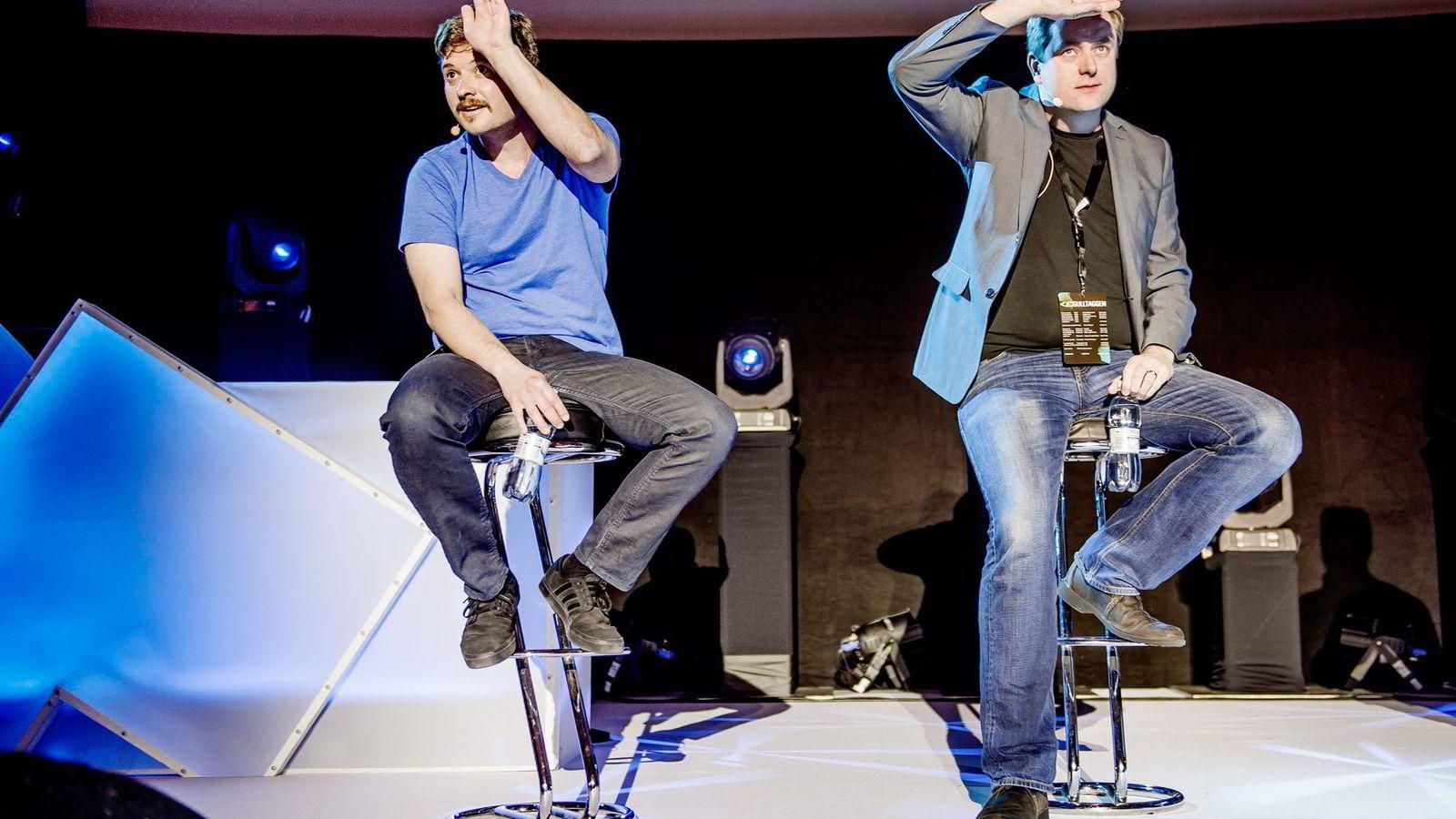 Ben Williams (til venstre) er talsperson for Eyeo, selskapet som driver Adblock Plus. Sean Blanchfield driver Pagefair, som hjelper medieselskaper å omgå og bekjempe blokkering. De to møttes igår under Gulltaggen. Foto: Hampus Lundgren