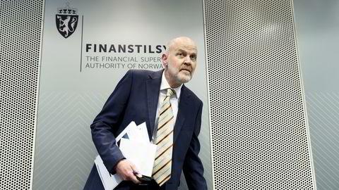 Finanstilsynsdirektør Morten Baltzersen på onsdagens pressekonferanse. Foto: Gorm Kallestad /