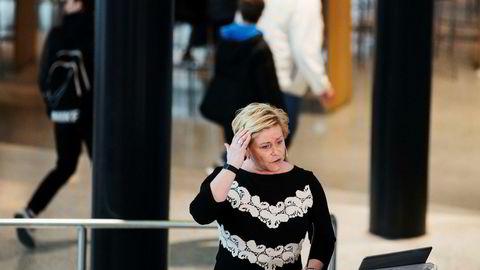 Finansminister Siv Jensen (bildet) og statsminister Erna Solberg la i dag frem regjeringens perspektivmelding.