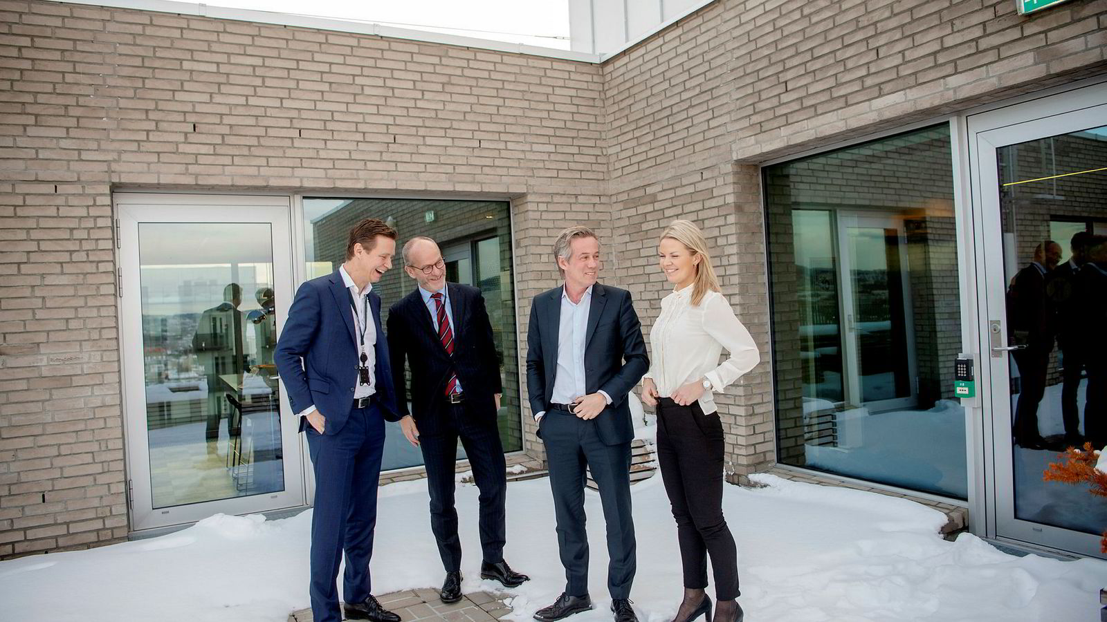 DNBs juridiske direktør Audun Moen (fra venstre), administrerende partner Finn Bjørnstad i Wikborg Rein, administrerende partner Morten Goller i Wiersholm og DNB-advokat Line Bøhn Hagen er nye hovedsamarbeidspartnere.