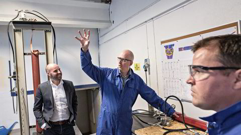 Jan-Fredrik Carlsen (39) (fra venstre), Trond Løkka (43) og Tor-Øystein Carlsen (37) har siden nyttår 2014 jobbet med å stable på bena oljebedriften Optime Subsea Service. Alle foto: Aleksander Nordahl