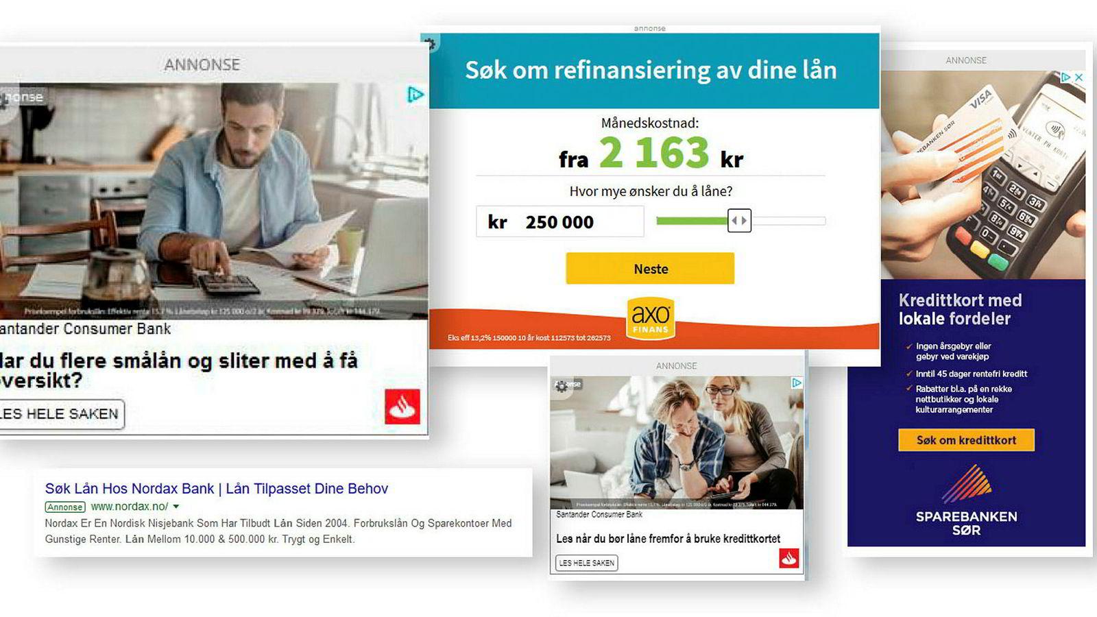 Disse annonsene for forbrukslån er ferske eksempler på brudd på markedsføringsregler – og det handler særlig om for liten skrift eller prisopplysninger som mangler helt eller delvis. Annonsene har Forbrukertilsynet funnet hos aktører som Santander, Nordax, Sparebanken Sør og låneformidlingsselskapet Axo.