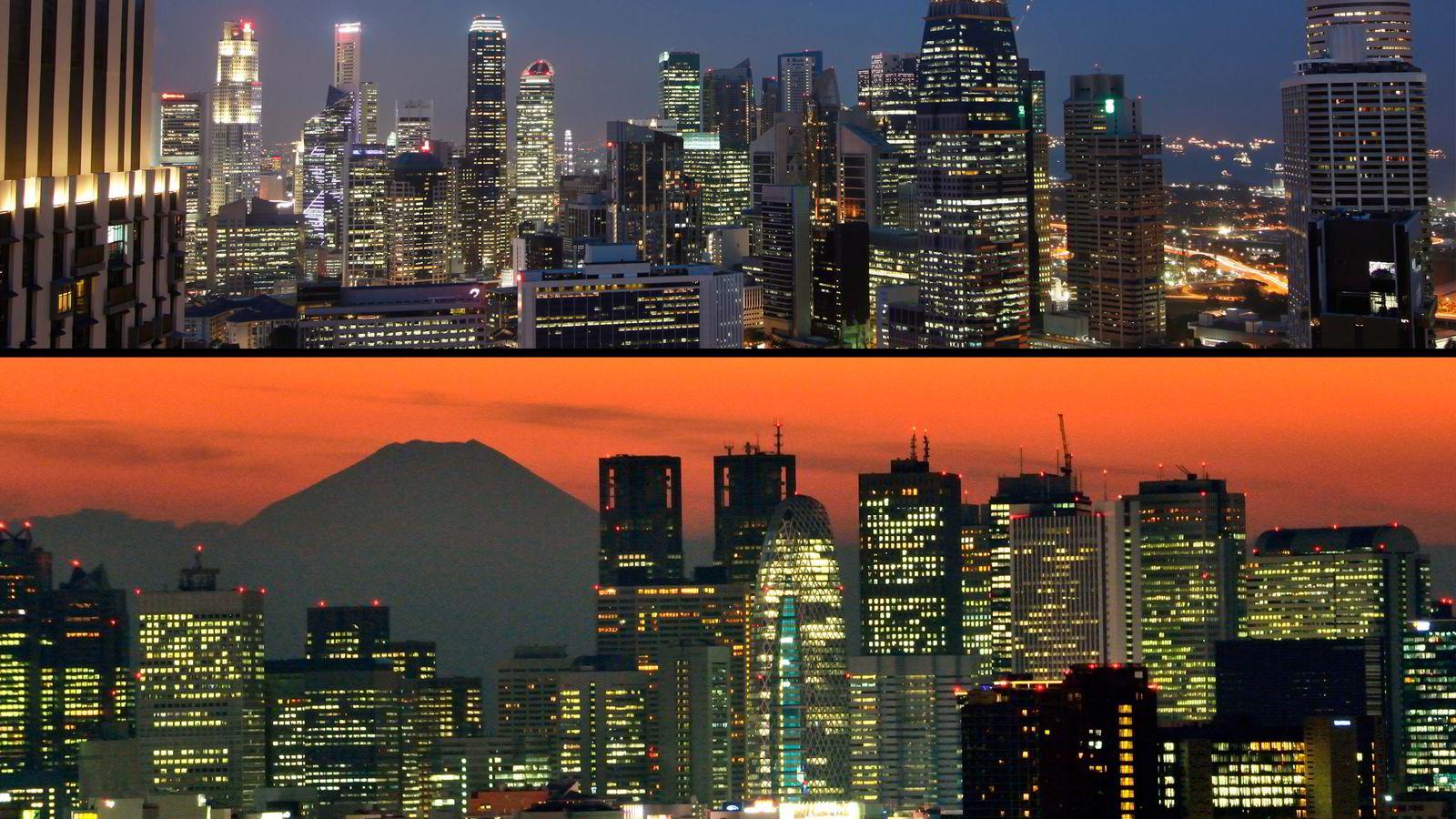 Singapore (øverst) og Tokyo står øverst på eiendomssjef Karsten Kallevigs shoppingliste.