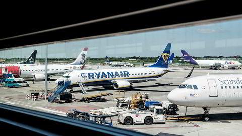 Ryanair har hatt sine første streiker denne sommeren, og senere i uken kan en storstreik ramme flyvninger til og fra Sør-Europa. Her fra flyplassen i Dublin, Irland.