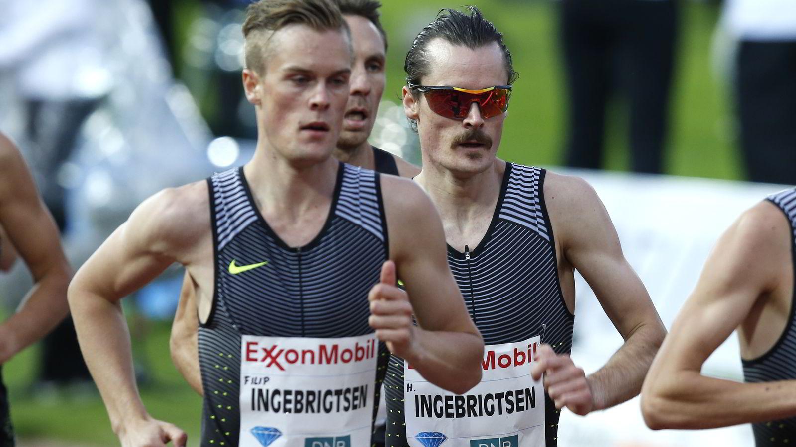 Både Filip Ingebrigtsen (t.v) og Henrik Ingebrigtsen kan ta EM-medalje under lørdagens finale i Amsterdam. Her er de avbildet under Diamond League på Bislett Games 2016. Foto: Vidar Ruud /