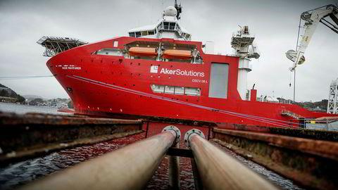 Det Ocean Yield-eide subsea-fartøyet «Aker Wayfarer», her ved kai utenfor Egersund for noen år tilbake.