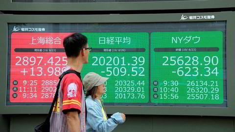Nikkei-indeksen ved Tokyo-børsen falt med 2,6 prosent da den åpnet mandag morgen. Også i resten i Asia er det en bred nedgang etter den siste opptrappingen i handelskrigen mellom USA og Kina.