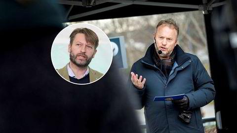 Høyres Eirik Lae Solberg (innfelt) etterlyser handling fra Oslo kommune og Raymond Johansen i bykampen om NRKs nye hovedkvarter.