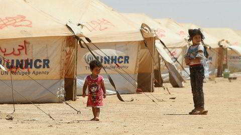 EU vurderer flyktningleirer utenfor Europa. Her fra en FN-leir for syriske flyktninger i Mafraq i Jordan. Foto: Ali Jarekji/Reuters/NTB Scanpix