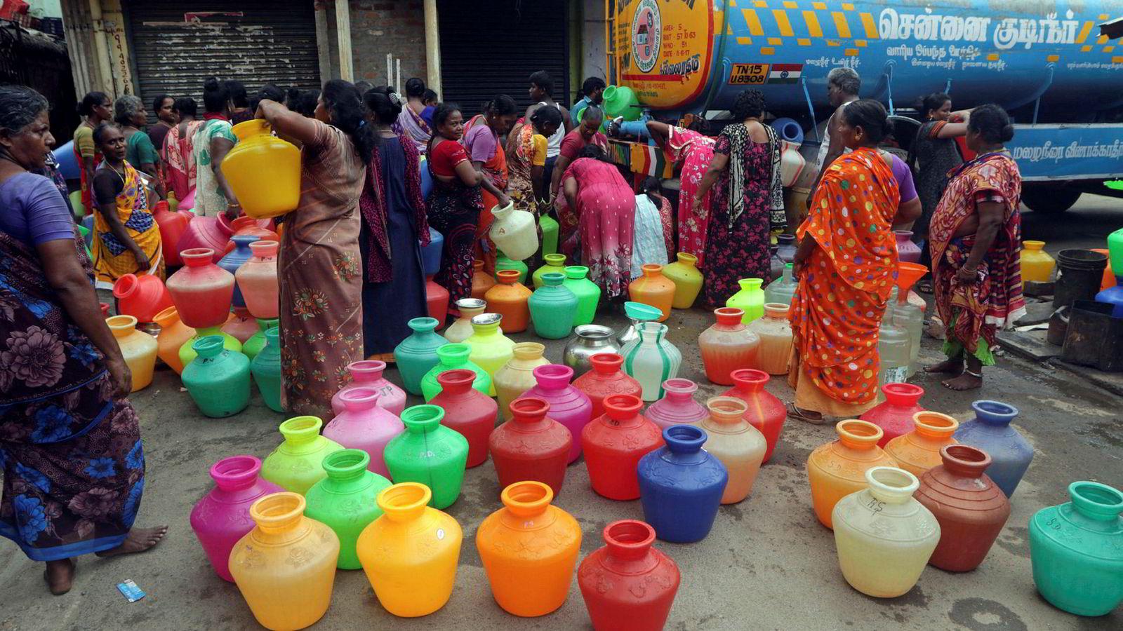 Drikkevann må nå kjøres inn med tankbiler til Indias 6. største by Chennai.