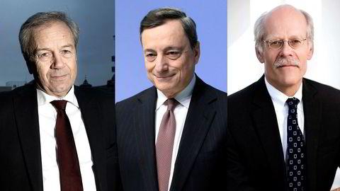 Rentebeskjedene fra sentralbanksjef Øystein Olsen i Norges Bank, sentralbanksjef Mario Draghi i ECB og sentralbanksjef Stefan Ingves i Riksbanken kommer alle i løpet av et kort tidsrom torsdag. Analytikerne tror én av dem kommer til å stikke av med mesteparten av oppmerksomheten. Foto: Foto: Linda Næsfeldt, Krisztian Bocsi/Bloomberg/Sveriges Riksban