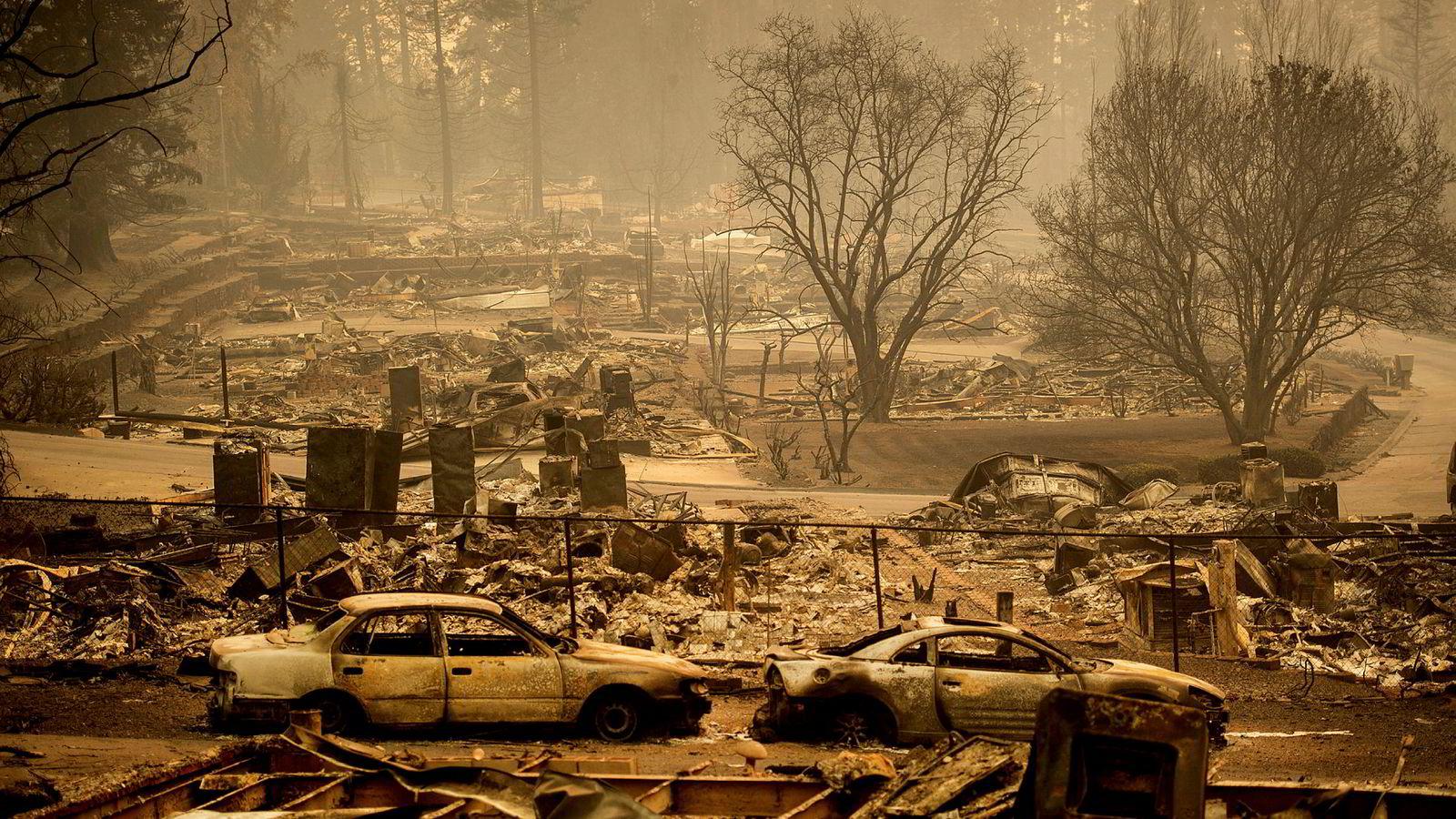 Småbyen Paradise i California er helt nedbrent.