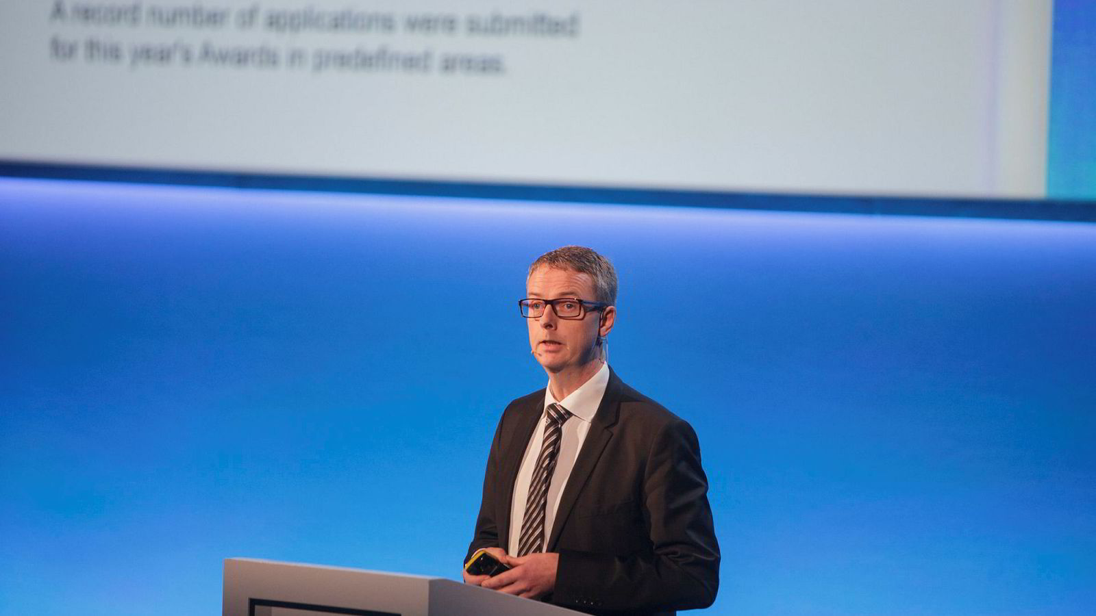 Olje og energiminister Terje Søviknes innledet Statoils høstkonferanse i Oslo tirsdag.