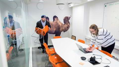 Espen Einn og prosjektleder Agnija Bako i Payr gjør klart til et møte. Bako er en av dem som har vært lengst i bedriften. Kamelen i bakgrunnen ble plukket opp utenfor Steen og Strøm, og har fast tilholdssted på møterommet.