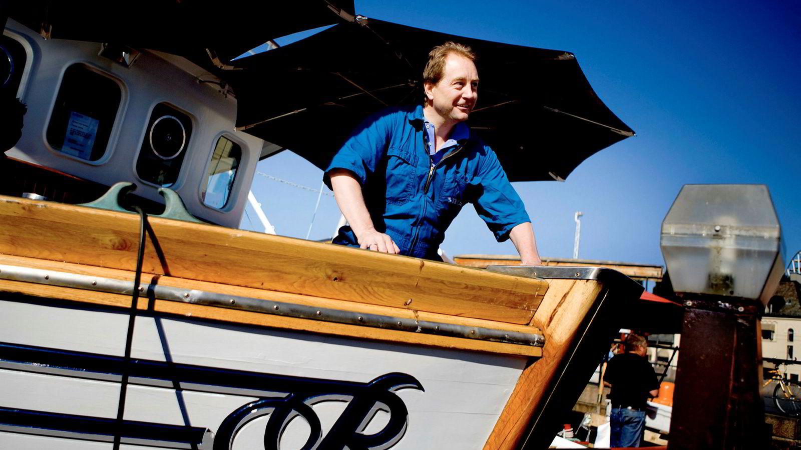 Kjell Inge Røkke, her fotografert mens han solgte reker og fisk på Rådhuskaien i Oslo for noen år siden.