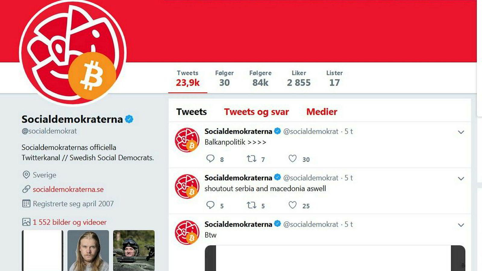 Twitterkontoen til de svenske Socialdemokraterna ble kapret natt til mandag.