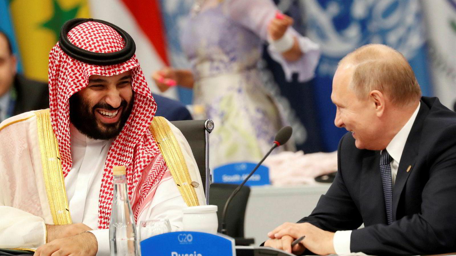 Saudi Arabias kronprins Mohammed bin Salman og Russlands president Vladimir Putin på G20-toppmøtet i Buenos Aires sist helg. USAs president Donald Trump måtte finne seg i å spille en mer tilbaketrukken rolle.