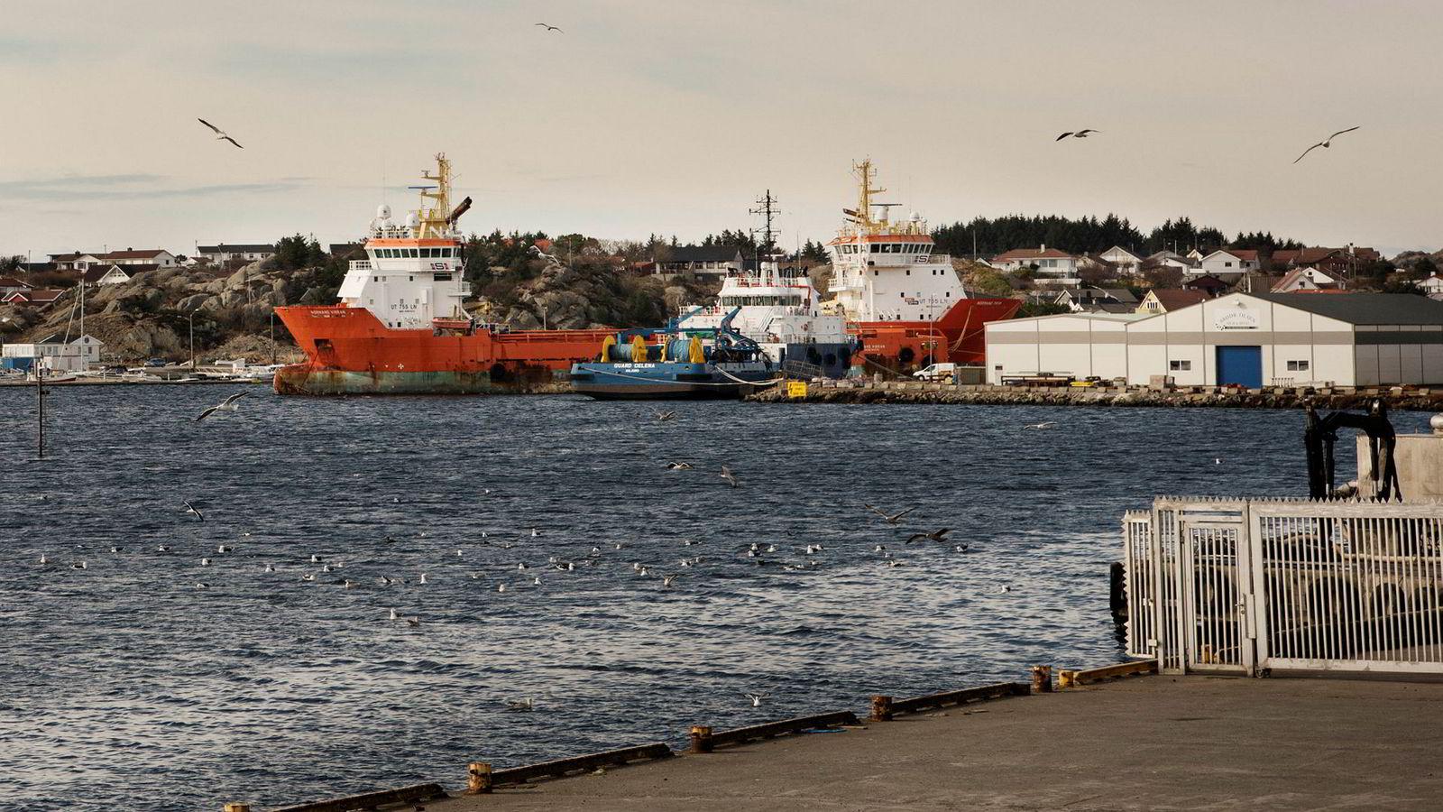 Det har vært tøffe tider for shipping, der Solstad har nedbemannet og fusjonert. Her ligger supplyskip i opplag.