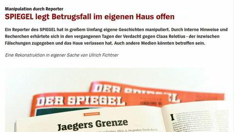 En reporter i Spiegel har innrømmet forfalskning og oppdiktede hovedpersoner.