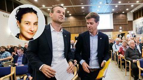 Partileder Knut Arild Hareide – her med nestleder Kjell Ingolf Ropstad (til v.) – får motbør fra sin meningsfelle i KrF Kvinner, Oddbjørg Minos (innfelt).