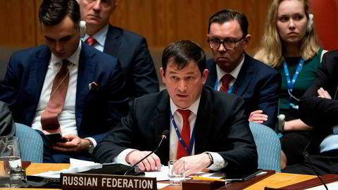 Russlands viseambassadør til FN, Gennady Kuzmin, under krisemøtet i sikkerhetsrådet mandag.