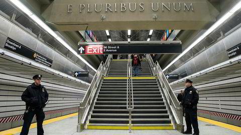 Den nye undergrunnsstrekningen «2nd Avenue Subway» i New York åpner for publikum 1. nyttårsdag. Foto: Drew Angerer/Getty Images/Afp/NTB scanpix