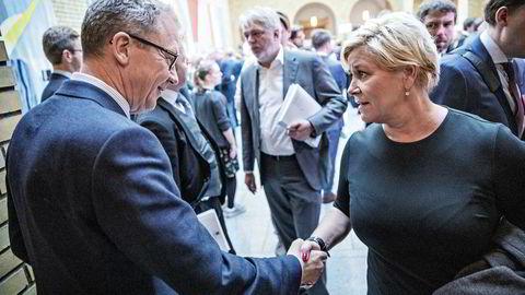 Idar Kreutzer i Finans Norge klaget på særskatten for finansnæringen da Siv Jensen la frem statsbudsjettet for Stortinget mandag.