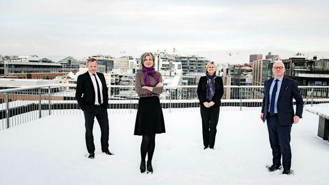 DNs ekspertpanel består av BA-HR-partner Stig L. Bech (til venstre), administrerende direktør Anne Helene Mortensen i DNB Næringsmegling, administrerende direktør Anne Bruun-Olsen i Cushman & Wakefield og Bård Bjølgerud i Pangea Property Partners.