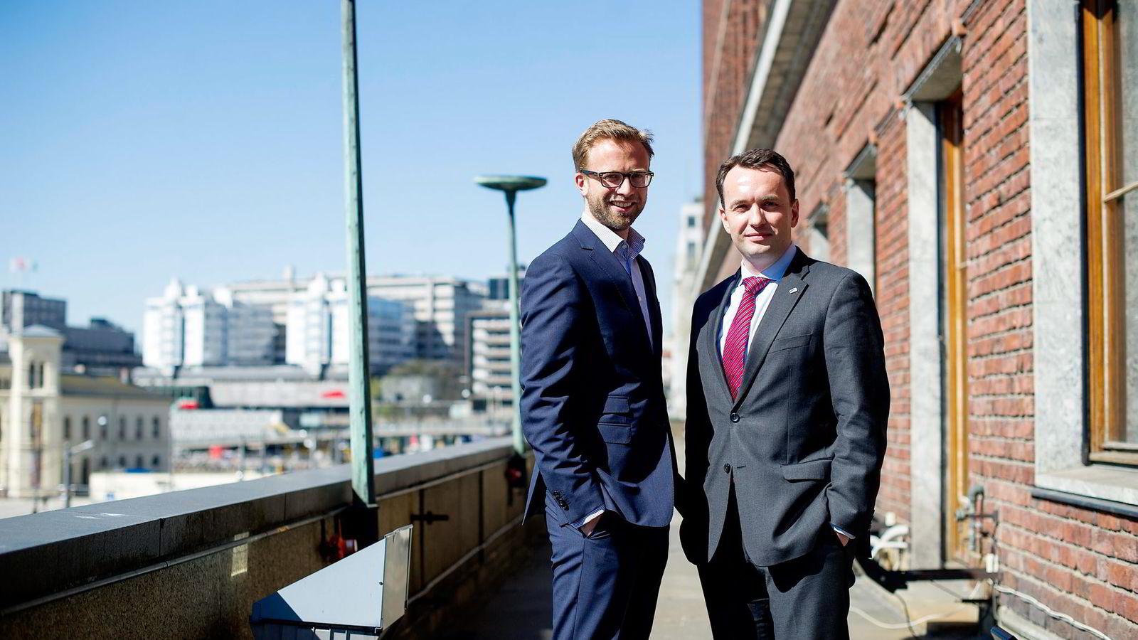 Selv om det er Venstre som i siste periode har hatt miljøbyråden, så blir Høyre stilt til ansvar for at miljøpolitikken er så ambisjonsløs. Her Høyres Nikolai Astrup (til venstre) og Stian Berger Røsland.