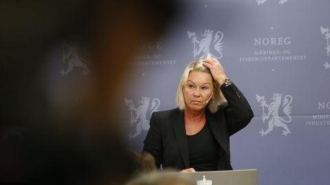 Næringsminister Monica Mæland må svare på ytterligere spørsmål om utpekingen av Thorhild Widvey som ny styreleder i Statkraft. Foto: Gorm Kallestad/
