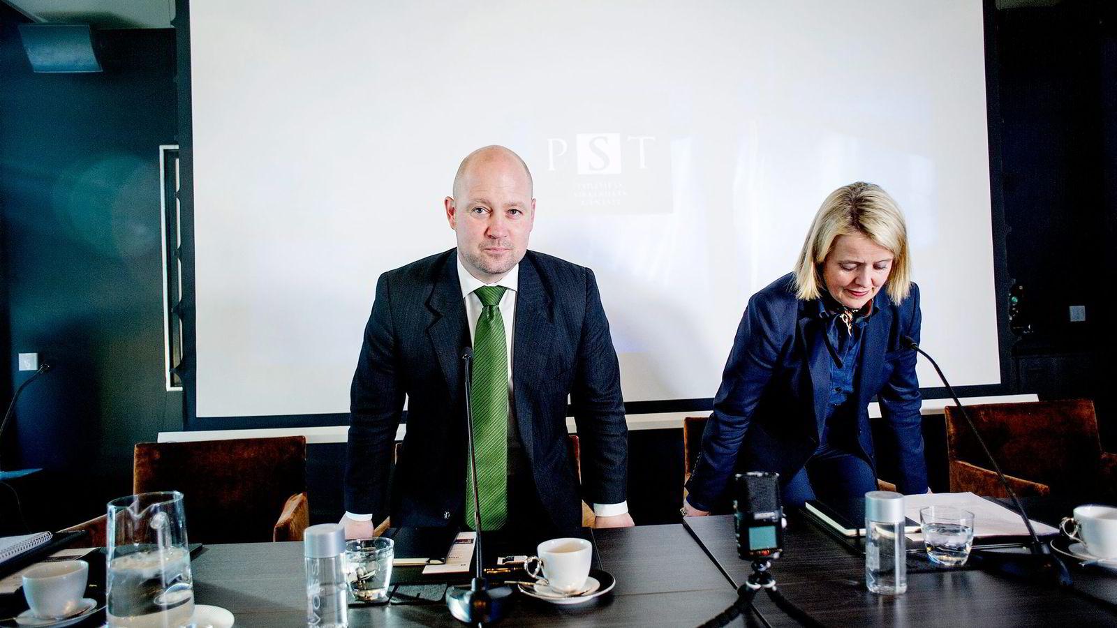 Justisminister Anders Anundsen og PST-sjef Benedicte Bjørnland la frem ny trusselvurdering onsdag.