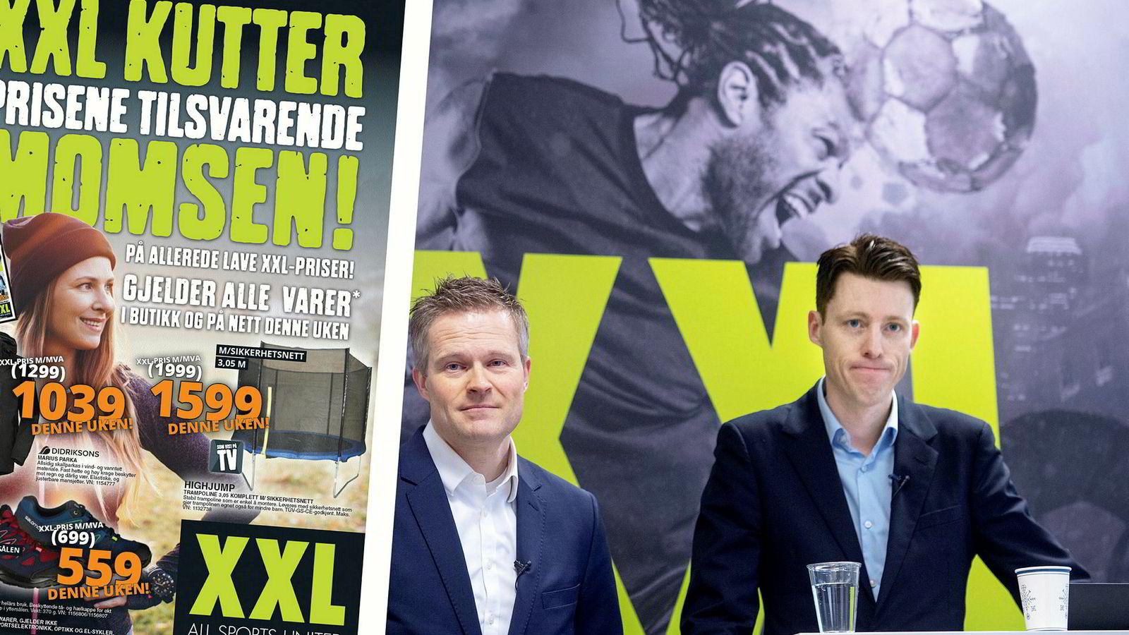 Finansdirektør Stein Eriksen (til venstre) og administrerende direktør Tolle Grøterud i XXL har fått Forbrukertilsynet på nakken etter en reklamekampanje.