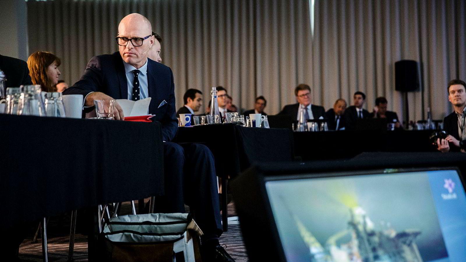 Torgrim Reitan er USA-sjef i Statoil. Her fra tirsdagens kapitalmarkedspresentasjon i London