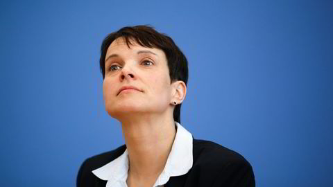Frauke Petry, leder for Alternative für Deutschland, gjorde et brakvalg i helgens tyske regionalvalg. Foto: Markus Schreiber/AP Photo
