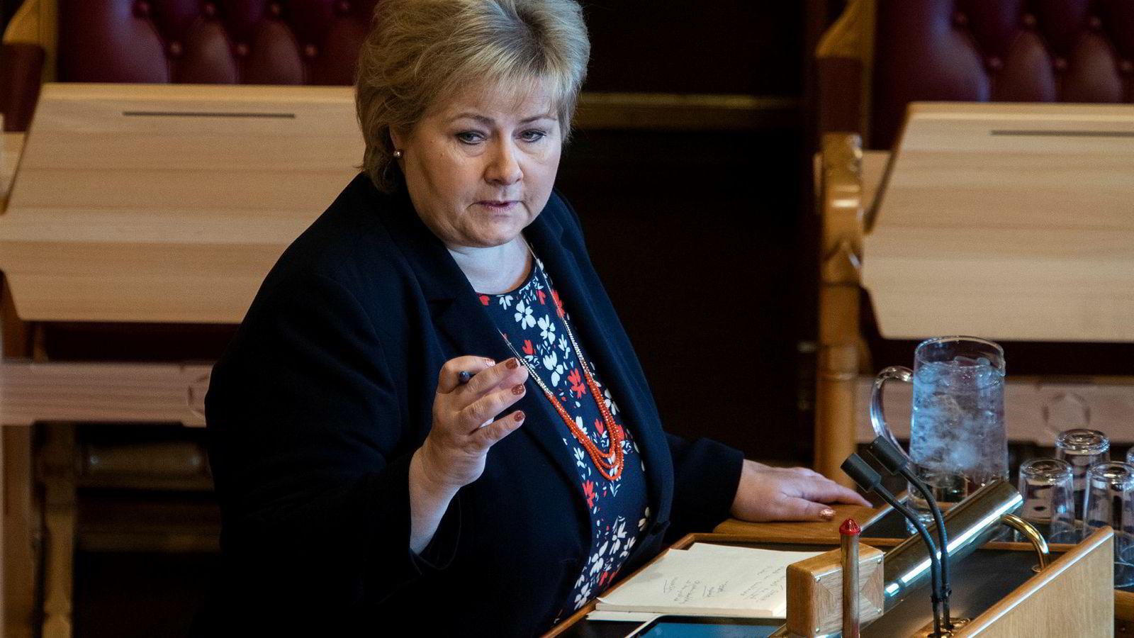 Statsminister Erna Solberg svarte på klimastreikernes krav i spontanspørretimen i Stortinget.