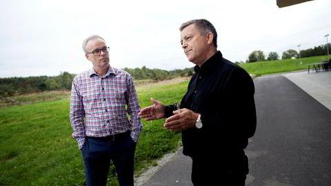 Utbyggingsselskapet Norsk Vind Energi har tilrettelagt en rekke vindparker på Vestlandet og solgt prosjektene videre til utenlandske investorer med storprofitt. Per Ove Skorpen er daglig leder og Lars Helge Helvig (til høyre) er styreleder og storaksjonær.